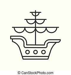 Galleon outline vector icon on white background - Isolated...