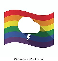 Isolated Gay Pride flag with a stormy cloud