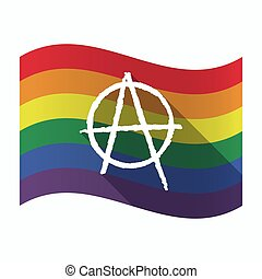 Isolated Gay Pride flag with an anarchy sign