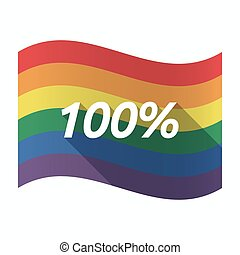 Isolated Gay Pride flag with the text 100%
