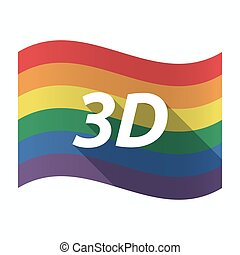 Isolated Gay Pride flag with the text 3D
