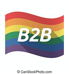 Isolated Gay Pride flag with    the text B2B
