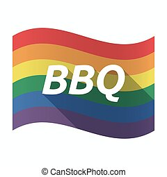 Isolated Gay Pride flag with    the text BBQ