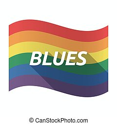 Isolated Gay Pride flag with the text BLUES