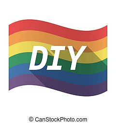 Isolated Gay Pride flag with    the text DIY