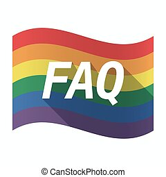 Isolated Gay Pride flag with the text FAQ