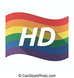 Isolated Gay Pride flag with    the text HD