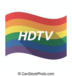 Isolated Gay Pride flag with    the text HDTV