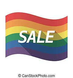 Isolated Gay Pride flag with the text SALE