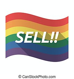 Isolated Gay Pride flag with the text SELL!!