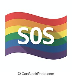 Isolated Gay Pride flag with    the text SOS