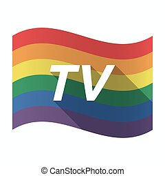 Isolated Gay Pride flag with    the text TV