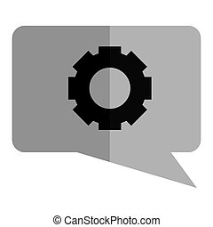 Isolated gear icon on a bubble chat