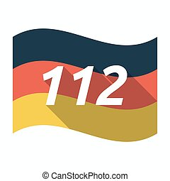 Isolated german flag with the text 112
