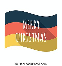 Isolated german flag with the text MERRY CHRISTMAS