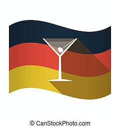 Isolated Germany flag with a cocktail glass