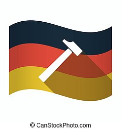 Isolated Germany flag with a hammer