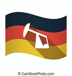 Isolated Germany flag with a horsehead pump - Illustration...