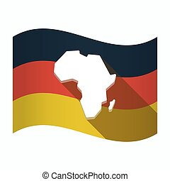 Isolated Germany flag with  a map of the african continent