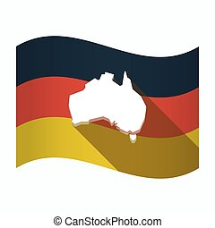 Isolated Germany flag with  a map of Australia
