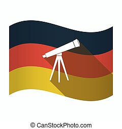 Isolated Germany flag with a telescope