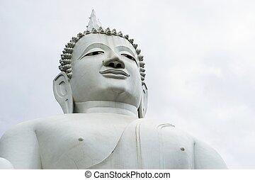 isolated giant white image of Buddha 1