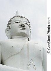 isolated giant white image of Buddha 3