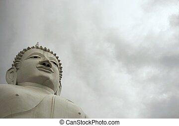 isolated giant white image of Buddha 7