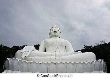 isolated giant white image of Buddha 8