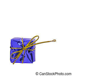 Isolated Gift box blue for the festivities on a white background with clipping path.