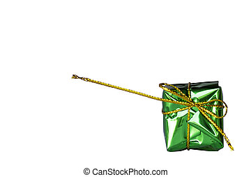 Isolated Gift box green for the festivities on a white background with clipping path.