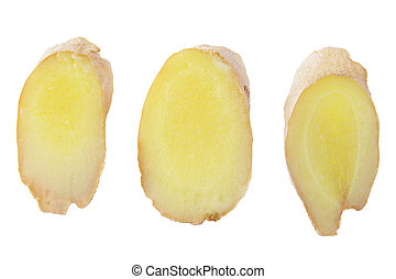 Collection of three slices ginger root isolated on white