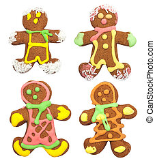 Isolated gingerbread, man on white