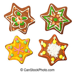 Isolated gingerbread, star on white