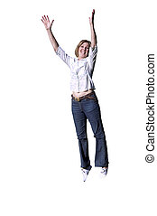 Isolated Girl Jumping