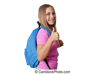 isolated girl with the backpack on back to school