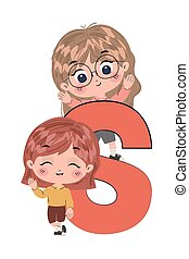 Isolated girls cartoons with alphabet letter vector design