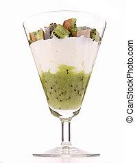 isolated glass of kiwi dessert