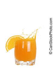 glass of orange juice splash