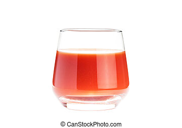 Isolated glass with red tomato juice