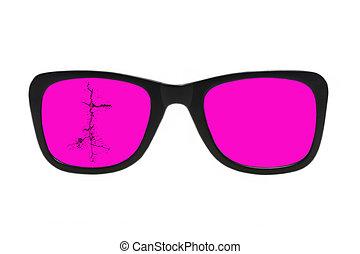 isolated., glasses., rosa, roto