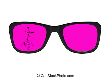 isolated., glasses., rosa, rotto