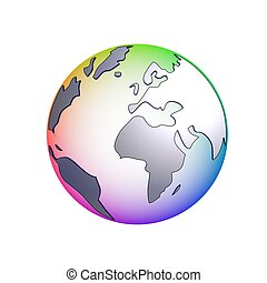 isolated globe multi-color