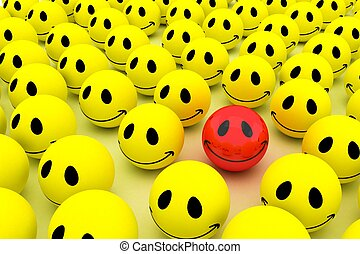 Isolated glossy 3d standard smiling smileys. crowd