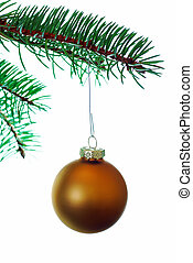Gold Christmas Ball on branch