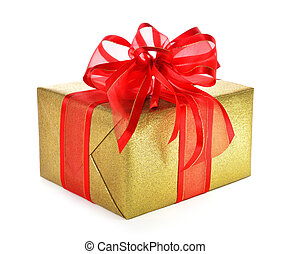 Isolated gold gift box with red bow