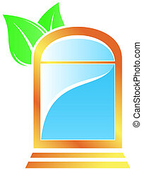 icon with window and leaf