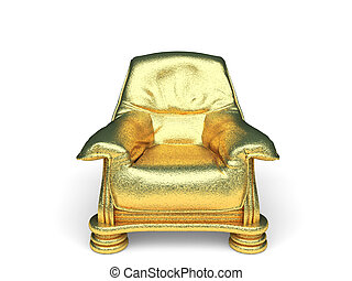 isolated golden chair