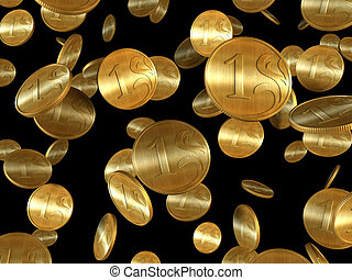 3d rendering of the golden coins on black background