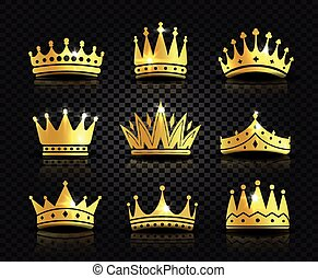 Isolated golden color crowns logo collection on black...